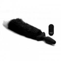 Bewegende en Vibrerende Anaal Plug Vossenstaart - Zwart/Wit