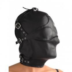Lederen masker met afneembare blinddoek en snuit